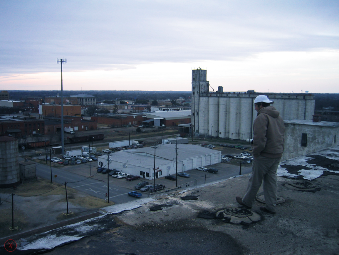 Ty on the roof of the factory