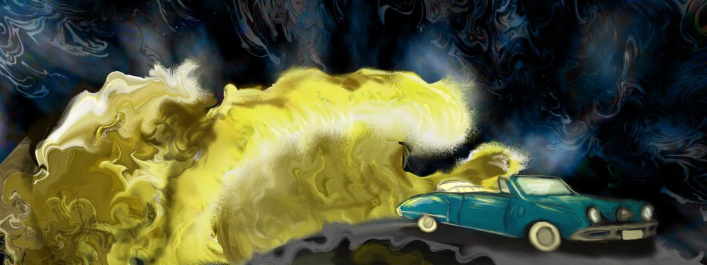 A Studebaker flanked by waves of gold, painted by Peyton Morris