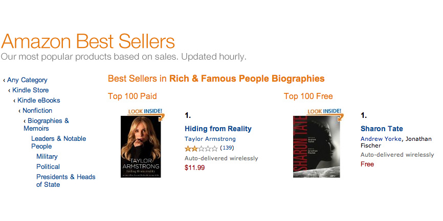 Sharon Tate tops the bestseller list on Amazon